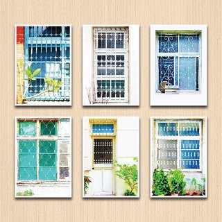 Old House Facing - Geometry I Iron Window Flower Postcard Set