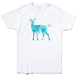 Splash Deer short-sleeved T-shirt white elk colorful watercolor illustration deer universe design own brand Milky Way hipster round triangle
