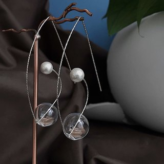 Swanlace silver star geometric curved glass ball shape 925 silver earrings ear hook