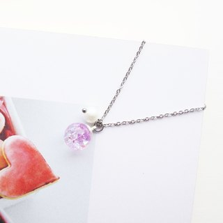 *Rosy Garden*lilac purple crystal water inside glass ball necklace 1cm diameter