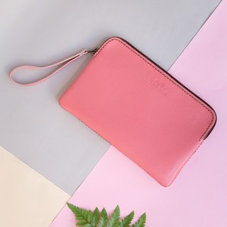 'TRIPLET GIANT' HANDMADE LEATHER CLUTCH BAG-PINK