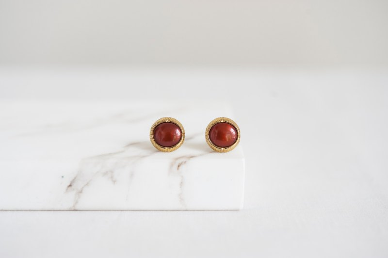Vintage Early Button Handmade Earrings - Brown Red