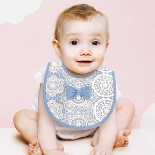 PUREST little princess bow baby lace bib / saliva towel (blue)