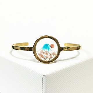 Sakura Mount Fuji (Pressed Flower Stainless Steel Bangle)