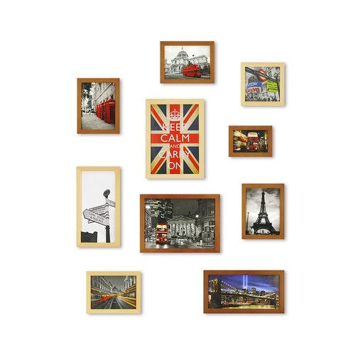 HomePlus Photoframe Brown+LightBrown Large Size 10PCS City Decor Loft
