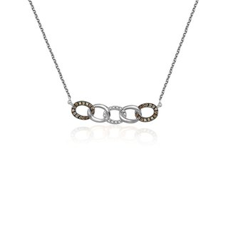 Chain Shape Diamond Necklace With Mixed Gold