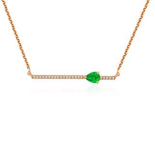 Line Diamond Necklace with Drop Shape Emerald