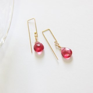 Red quartz earrings / Red Hydro Quartz Gemstone 14K GF earring