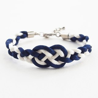 Navy blue/White infinity braided bracelet