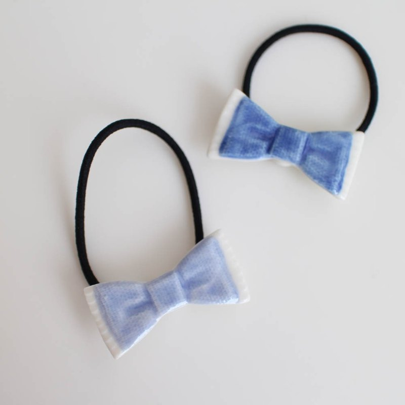 Denim ribbon hair tie