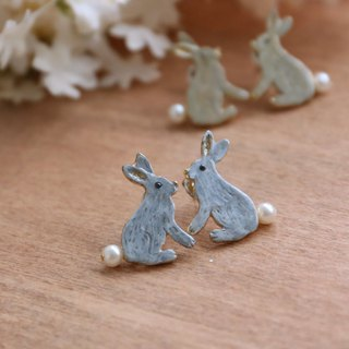 Japanese Handmade Ornaments - Bunny Couple Earrings