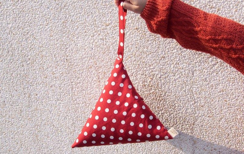 聖誕 紅 水玉點點  幾何 三角包 化妝包/錢包 (M)