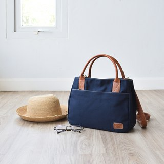 mono tote&shoulder bag - Navy blue