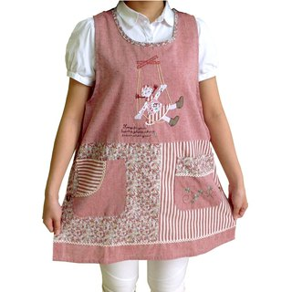 [BEAR BOY] Swing Girl Apron - Red (side buckle)