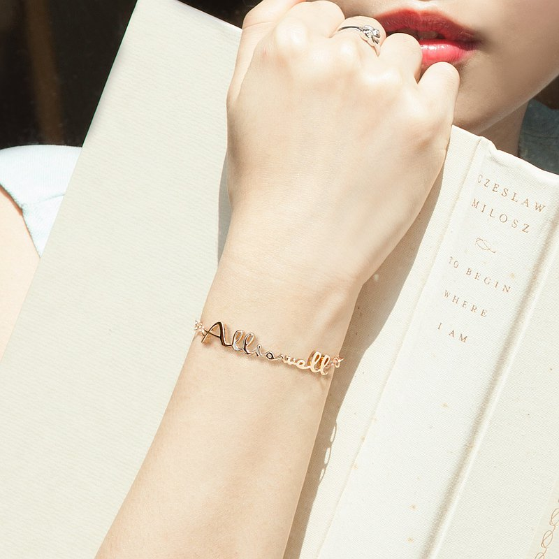 Exclusive custom | English name bracelet_standard size | Monoment script. One piece