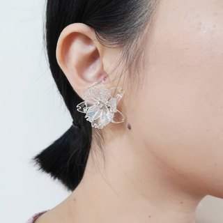 Miss Paranoid Paranoia Miss Asymmetrical Eight-Sakura Cherry Blossom Transparent Dangling Resin Earrings