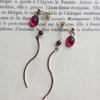 14 kgf Vintage Swarovski and garnet back catch earrings OR Pain-hard ear clip