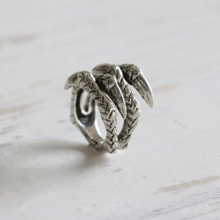 Dragon claw silver ring adjustable wrap Vintage Biker Skull jewelry gothic men 9