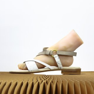 marble pattern with grey colour leather sandal