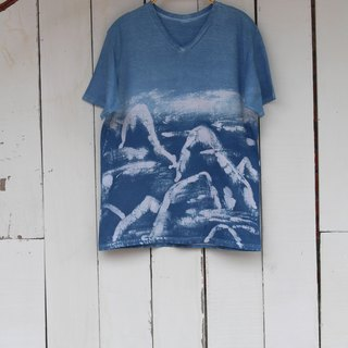 Free to stain isvara handmade blue dye symbiotic series of mountains and rivers cotton T-shirt