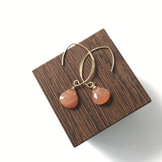 Orange moon stone Hook-earring 14 kgf, Clip-earring Surgical Steel