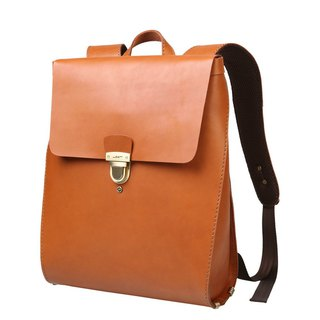 JIMMY RACING Japanese Simple Leather Back Backpack - Camel 04166021