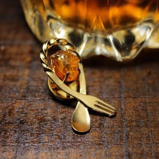 Bartenders Bar Spoon Broach - Amber