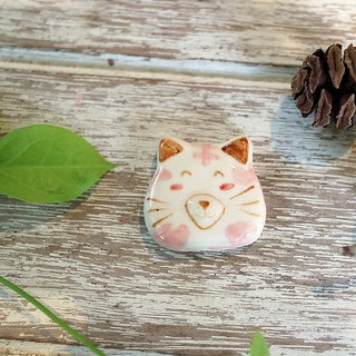 Rainbow cat brooch white-pink