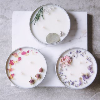 Goody Bag-Fu bag two into the transparent window fragrance three choice two dry flowers soy candles 180g