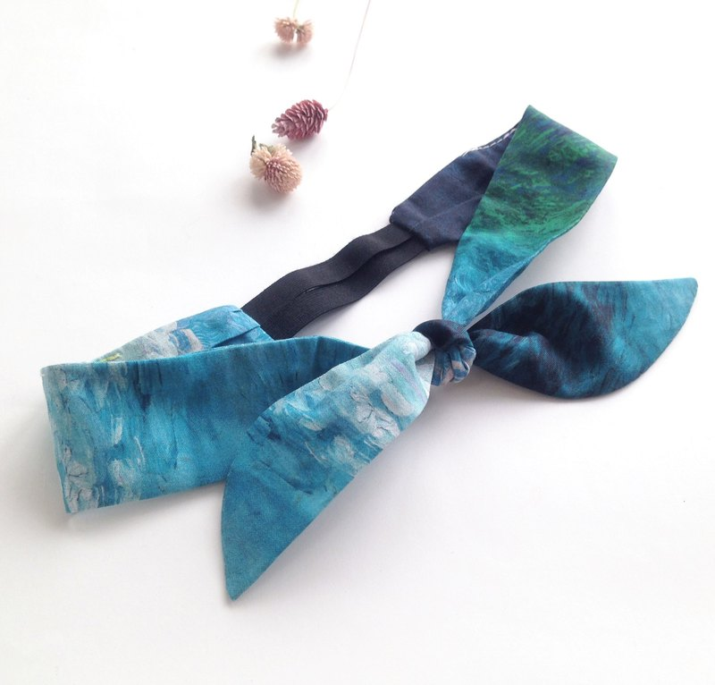 Azure Blue Abu Sims - Limited American Drink Thousand Morning Bandage Tied Knot Bow Elastic Hairband
