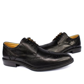 Sixlips British fashion wing carved Derby shoes black