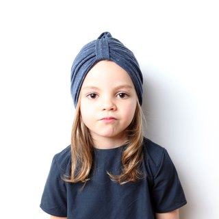 Blue cotton scarf hat (Size: 3-10 years old)