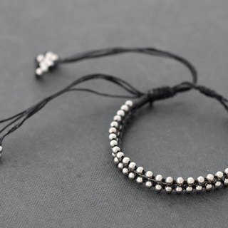 Beaded Adjustable Bracelets Black Silver Woven Bracelets Men Unisex