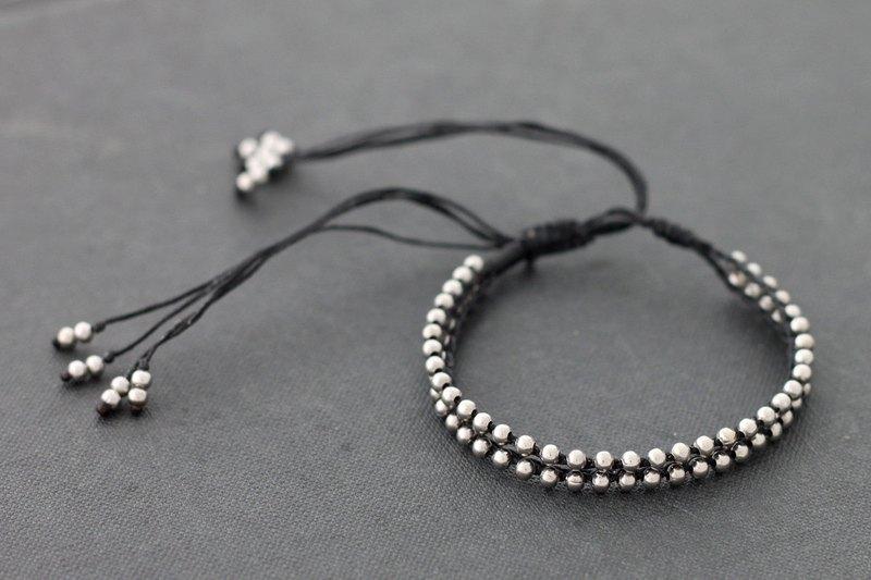 串珠可調節手鍊黑色銀編織手鍊男人男女皆宜