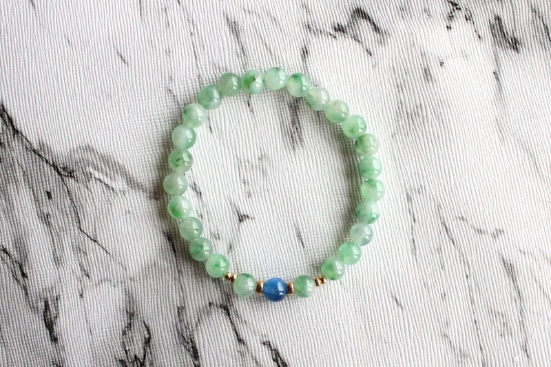 Journal-Flower floating water surface ice green flowers pure natural jade (Burma jade) 14KGF elastic bracelet