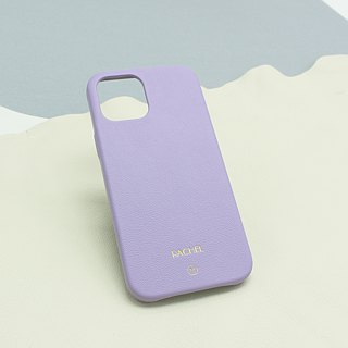 Customized Multicolor Real Leather Series Macaron Dream Color Powder Purple iPhone Case