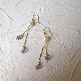 Pure 10K Gold 14k Gold Hook Purple Water Wafer Pearl Earrings