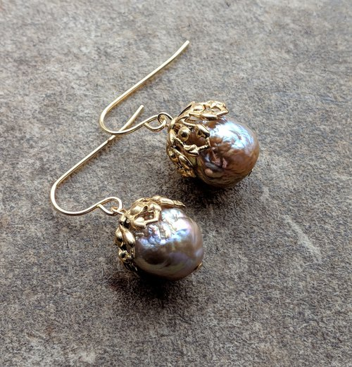 Baroque Pearl Earrings with Filigree Caps