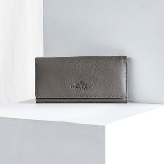 POPPY -  WOMEN LONG LEATHER WALLET-GREY