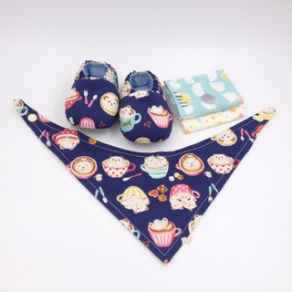 Coffee Lahua Bear - Miyue Baby Gift Box (toddler shoes / baby shoes / baby shoes + 2 handkerchief + scarf)