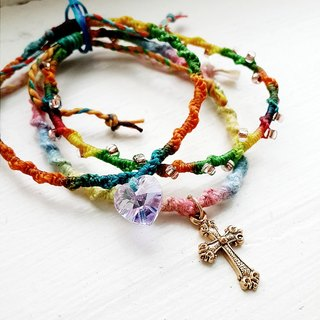momolico candy arm rope made bracelet Rainbow Crystal Cross
