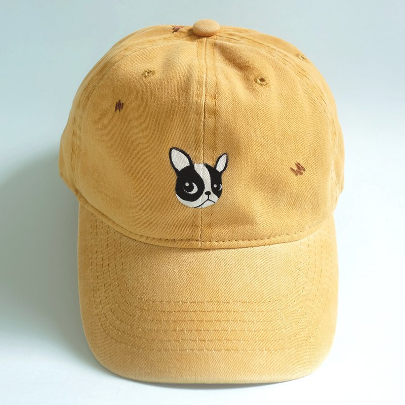 bd89c7467ed sulking french bulldog - yellow cap   hand paint   hand embroidery -  Designer snow at noon