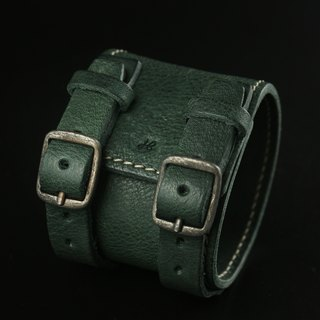 HEYOU Handmade - Leather Cuff leather bracelet (green)