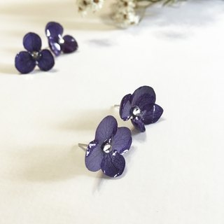 Stereo not withered blue NAVY Ziyang flower 925 sterling silver earrings