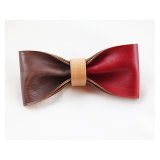 Clip on vegetable tanned leather bow tie - Red / Brown color