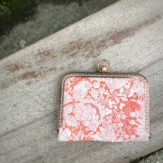 Liberty printed cloth. Orange Magic Garden Card Holder / Card Holder