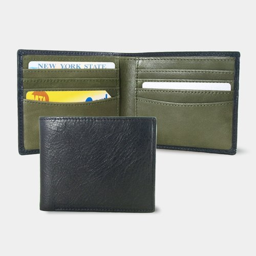 Influxx Montage Leather Bi-fold Compact Wallet - Dark Olive Green