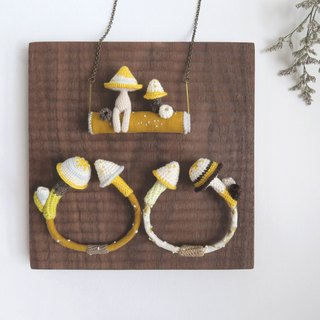 Swing Necklace | Mushrooman and mushroom playing on the swing | Yellow Color