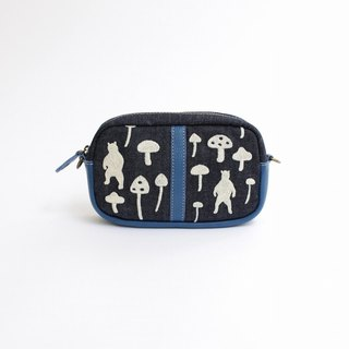 Embroidered beaded shoulder pouch