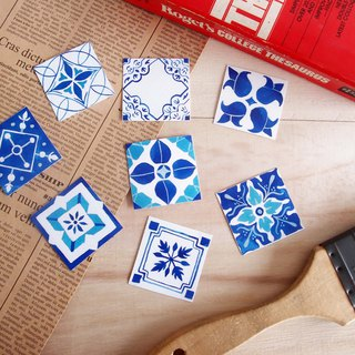 Blue and white tile sticker